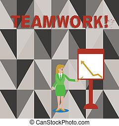 pointage, photo, teamwork., groupe, business, efficace, quand, écriture, combiné, tenue, texte, conceptuel, femme, whiteboard., projection, diagramme, main, crosse, surtout, efficace, flèche, action