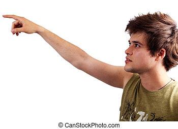 pointage, projection, isolé, jeune, blanc, ou, homme