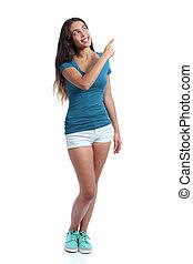 pointage, promoter, adolescent, girl, côté, présentation