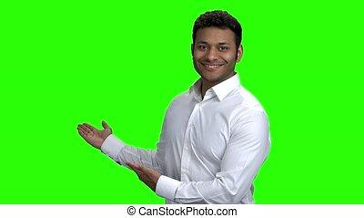 pointage, réussi, space., indien, homme affaires, copie, vide