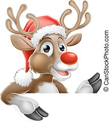 pointage, renne, signe, bas, derrière, santa chapeau