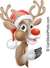 pointage, renne, signe, derrière, santa chapeau