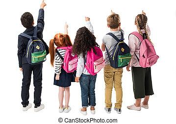 pointage, sacs dos, vue, dos, multiethnic, copie, isolé, espace blanc, enfants