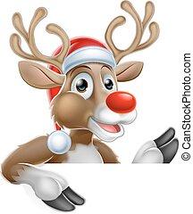 pointage, signe, bas, renne, santa chapeau