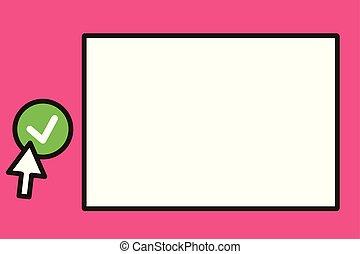 pointage, texte, conception, vide, toile, tique, affiche, esp, aviateur, planche, gabarit, blanc, vide, promotion, plat, illustration, article, copie, bannière, bouton, espace, haut, curseur, vecteur, vert, flèche, annonce, rond