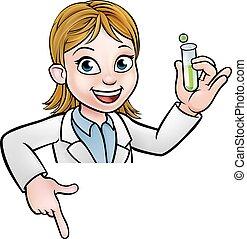 pointage, tube, signe, scientifique, tenue, essai, dessin animé