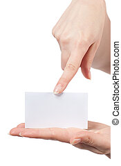 pointage, visiter, womans, isolé, vide, tenant mains, blanc, carte