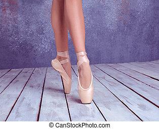 pointe , πόδια , νέος , μπαλλαρίνα , παπούτσια