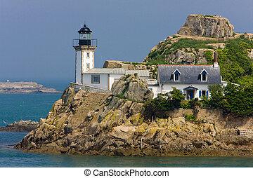 pointe, ブリタニー, de, al, lann, フランス, ペン, 灯台