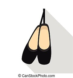 Pointe shoes icon, flat style - Pointe shoes icon. Flat...