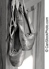 Pointe shoes - Old ballet shoes in sepia