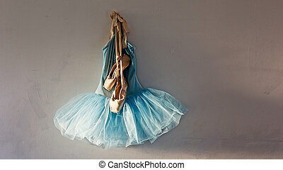 pointe shoes on tutu