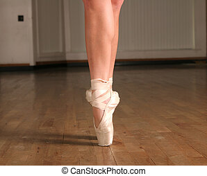Pointed - Ballerina in dance slippers on a point