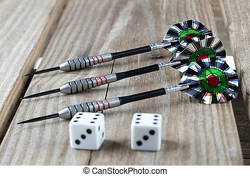 pointed dart pins with white dice