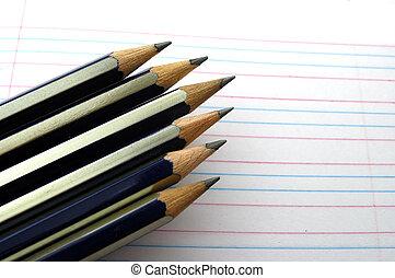pointed, lápis, ligado, um, regras, manuscrito