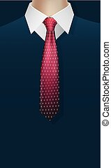 Pointed necktie on shirt with jacket vector design - Pointed...