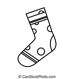 pointed sock line style icon design, Cloth fashion style wear and store theme Vector illustration