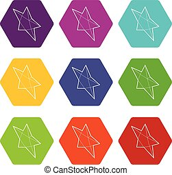 Pointed star icons set 9 vector