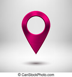 Pointer Button with Magenta Metal Texture - Technology map...