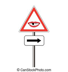 pointer dental clinic, road sign - a red triangle with a...