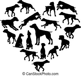 Pointer Dog Heart Silhouette Concept - A Pointer or similar...