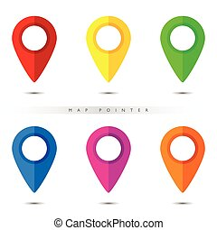 pointer for map in six color illustration