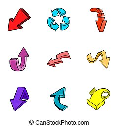 Pointer icons set, cartoon style