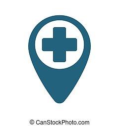 pointer map hospital cross location