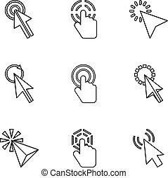 Pointer of computer icons set, outline style