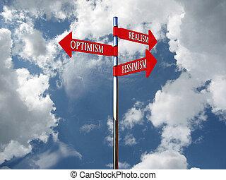 Pointer optimism, pessimism, realism against the sky. 3D