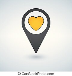 Pointer pin with yellow heart, web design element, favorite location concept, vector illustration.