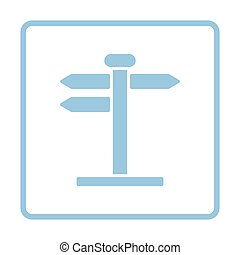 Pointer stand icon. Blue frame design. Vector illustration.