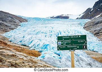 Pointer to Svartisen Glacier in north Norway