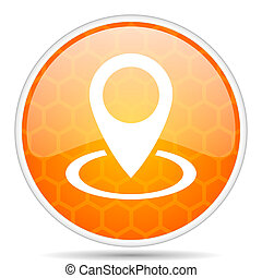 Pointer web icon. Round orange glossy internet button for webdesign.