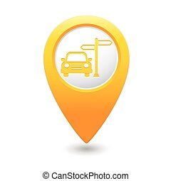 Pointer with car and road sign icon