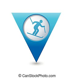 Pointer with downhill skiing icon