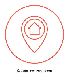 Pointer with house inside line icon.