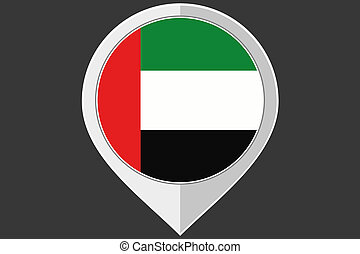 Pointer with the flag of United Arab Emirates