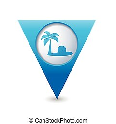 Pointer with tropical beach icon