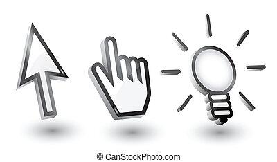 (pointers):, 手, マウス, 矢, ベクトル, カーソル, 電球, 影