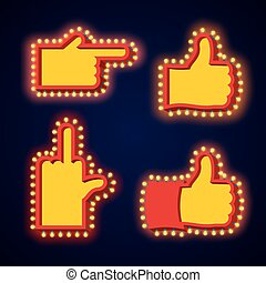 Pointers hand glowing lights set. Retro thumbs up with light bulb. Like Vintage directions. Index Shining light. Fuck aggressive gesture