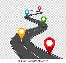 pointers., viagem, negócio, estrada, enrolamento, infographics., sucesso, progresso, conceito, alfinete, way.
