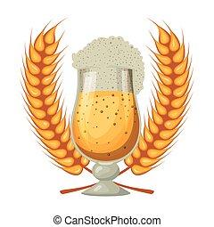 pointes, blé, bière, oktoberfest, tasse, célébration, icône