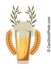 pointes, blé, verre bière, oktoberfest, célébration, icône