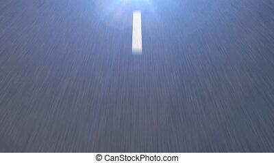 pointillé, asphalte, light., clair, va, ligne blanche, route