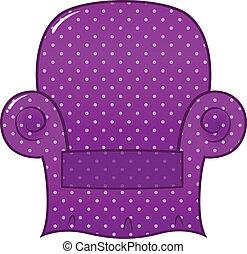 pointillé, clipart, pourpre, (, isolé, ), vecteur, chaise, blanc