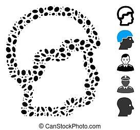 pointillé, collage, sergent, tête