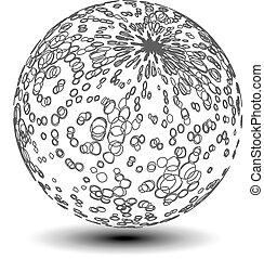 pointillé, globe, -, sphère, vecteur, icône, orbe, symbole, 3d