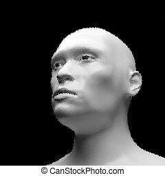 pointillez, effect., vue, humanoïde, figure, robot.,...