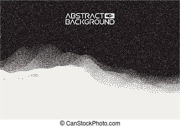 pointillez, gradient, texture, tonalité, point, vecteur, art., 3d, paysage, résumé, arrière-plan., gradient, vecteur, illustration., art ordinateur, conception, template., paysage, à, sommets montagne